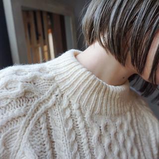 地毛風カラー ボブ ナチュラル ショートボブ ヘアスタイルや髪型の写真・画像