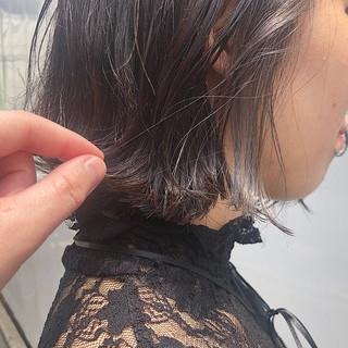 インナーカラー モード バイオレットアッシュ ポイントカラー ヘアスタイルや髪型の写真・画像