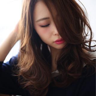 パーマ 暗髪 アッシュ モード ヘアスタイルや髪型の写真・画像