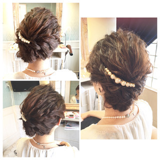 ショート 簡単ヘアアレンジ 波ウェーブ パーティ ヘアスタイルや髪型の写真・画像