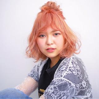 簡単ヘアアレンジ ショート ヘアアレンジ ハイライト ヘアスタイルや髪型の写真・画像