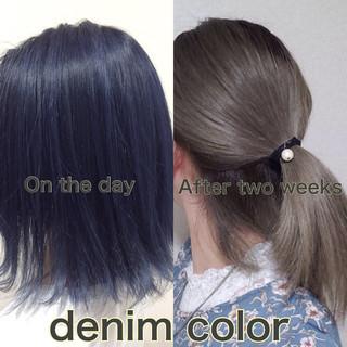ブルーアッシュ ストリート ブルー ネイビーブルー ヘアスタイルや髪型の写真・画像