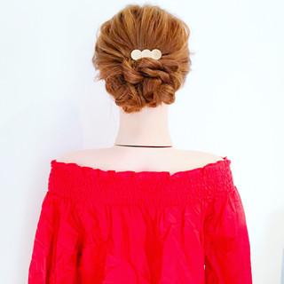 ヘアアレンジ 簡単ヘアアレンジ 結婚式 フェミニン ヘアスタイルや髪型の写真・画像