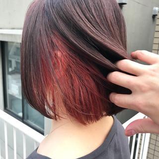 カッパー ボブ アプリコットオレンジ コーラル ヘアスタイルや髪型の写真・画像