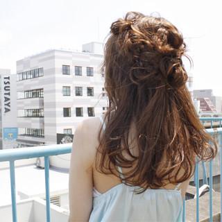 ゆるふわ ハーフアップ 簡単ヘアアレンジ セミロング ヘアスタイルや髪型の写真・画像