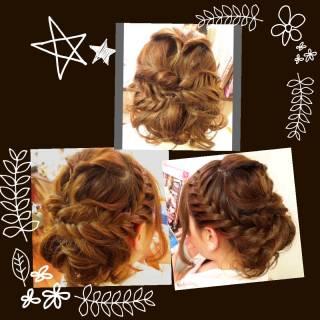 ルーズ フィッシュボーン 編み込み ヘアアレンジ ヘアスタイルや髪型の写真・画像