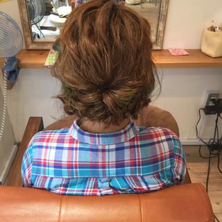 ショート セミロング ハイライト ヘアアレンジ ヘアスタイルや髪型の写真・画像