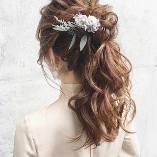 フェミニン ゆるふわ 結婚式 大人女子 ヘアスタイルや髪型の写真・画像