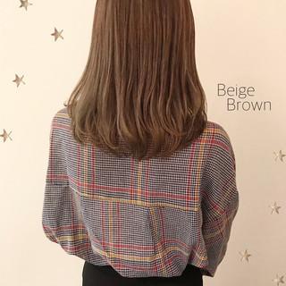 ベージュ ワンカール ストリート ミルクティー ヘアスタイルや髪型の写真・画像