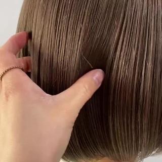 ミニボブ ミルクティーベージュ 韓国風ヘアー ボブ ヘアスタイルや髪型の写真・画像
