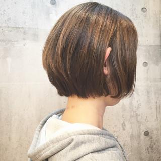 ショートボブ ボブ ハイライト ナチュラル ヘアスタイルや髪型の写真・画像
