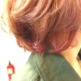 グラデーションカラー ストリート ボブ インナーカラー ヘアスタイルや髪型の写真・画像