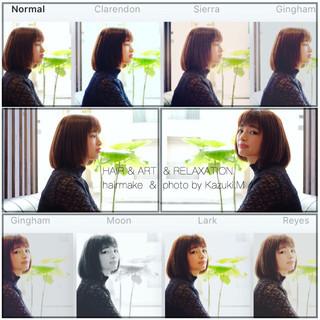 ボブ オフィス 秋 透明感 ヘアスタイルや髪型の写真・画像