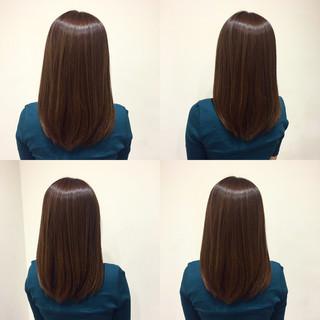 ミディアム ショコラブラウン 秋 ボブ ヘアスタイルや髪型の写真・画像