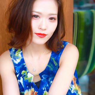 ミディアム ナチュラル可愛い  小顔 ヘアスタイルや髪型の写真・画像
