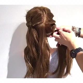 リラックス 簡単ヘアアレンジ フェミニン 夏 ヘアスタイルや髪型の写真・画像
