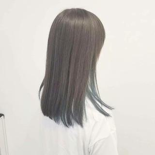 透明感 セミロング ナチュラル アッシュ ヘアスタイルや髪型の写真・画像