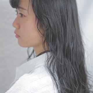 黒髪 グレージュ デート フェミニン ヘアスタイルや髪型の写真・画像