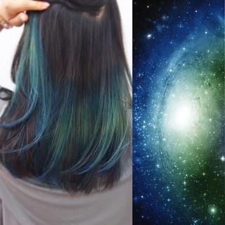 セミロング カラフルカラー モード インナーカラー ヘアスタイルや髪型の写真・画像 ヘアスタイルや髪型の写真・画像