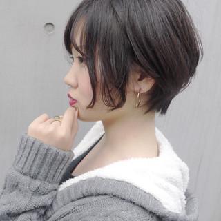 黒髪ショート コンサバ デート ショート ヘアスタイルや髪型の写真・画像