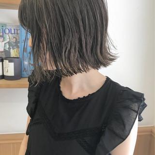 ハイライト ナチュラル 外ハネ ロブ ヘアスタイルや髪型の写真・画像