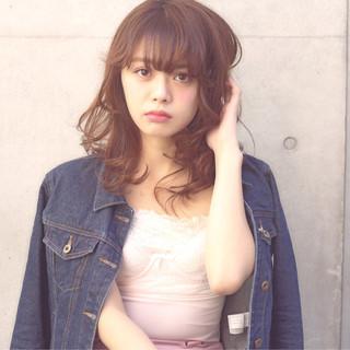 ガーリー ミディアム 外国人風 パーマ ヘアスタイルや髪型の写真・画像