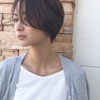 小顔ショート ショートヘア ショートボブ ハンサムショート ヘアスタイルや髪型の写真・画像