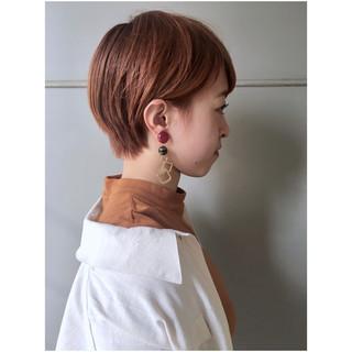 ナチュラル オレンジ オレンジベージュ ショートボブ ヘアスタイルや髪型の写真・画像