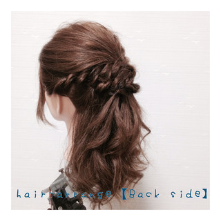 フェミニン 簡単ヘアアレンジ ハーフアップ セミロング ヘアスタイルや髪型の写真・画像