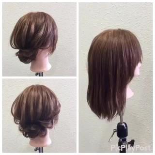 ボブ デート ナチュラル ヘアアレンジ ヘアスタイルや髪型の写真・画像
