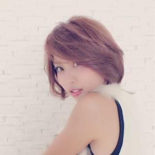ゆるふわ モテ髪 コンサバ ショート ヘアスタイルや髪型の写真・画像