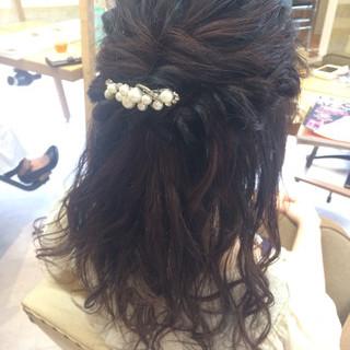 くるりんぱ ヘアアレンジ カール セミロング ヘアスタイルや髪型の写真・画像 ヘアスタイルや髪型の写真・画像