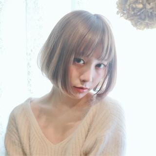 フェミニン グラデーションカラー ゆるふわ ボブ ヘアスタイルや髪型の写真・画像