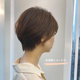 ショートヘア オレンジブラウン ショート ナチュラル ヘアスタイルや髪型の写真・画像