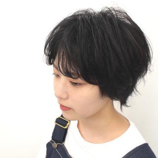 ショート 黒髪 モード ウルフ ヘアスタイルや髪型の写真・画像
