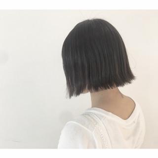 色気 黒髪 グレー ボブ ヘアスタイルや髪型の写真・画像