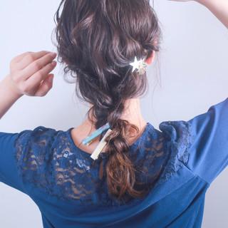 外国人風カラー セミロング デート ヘアアレンジ ヘアスタイルや髪型の写真・画像