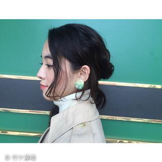 簡単ヘアアレンジ ガーリー ショート セミロング ヘアスタイルや髪型の写真・画像