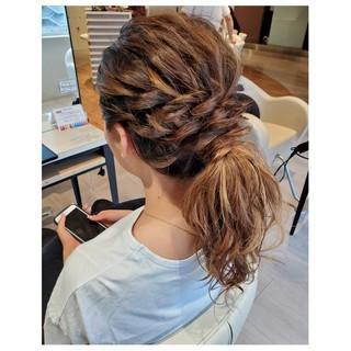 セミロング 結婚式ヘアアレンジ ポニーテール ヘアセット ヘアスタイルや髪型の写真・画像