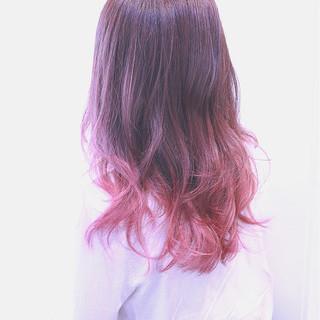 かわいい フェミニン ミディアム グラデーションカラー ヘアスタイルや髪型の写真・画像