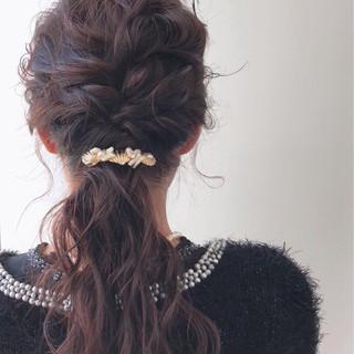 フェミニン ヘアアレンジ ロープ編み 結婚式 ヘアスタイルや髪型の写真・画像