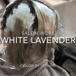 ボブ ストリート ハイトーンカラー 韓国ヘア ヘアスタイルや髪型の写真・画像