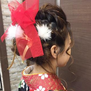 ヘアアレンジ セミロング 袴 ガーリー ヘアスタイルや髪型の写真・画像