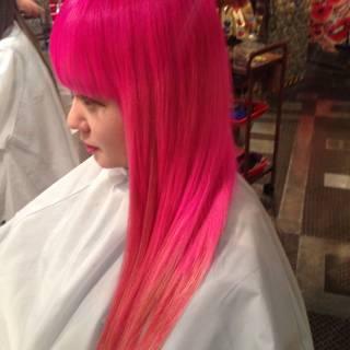 春 ロング ピンク グラデーションカラー ヘアスタイルや髪型の写真・画像