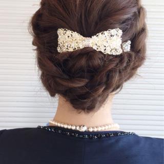 編み込み ヘアアレンジ 大人女子 エレガント ヘアスタイルや髪型の写真・画像