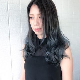 ロング 夏 グレー 暗髪 ヘアスタイルや髪型の写真・画像