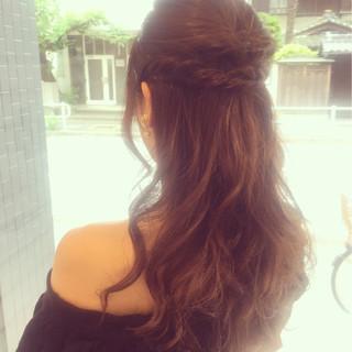 ショート ハーフアップ フェミニン アッシュ ヘアスタイルや髪型の写真・画像