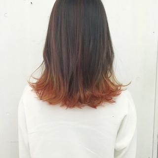 ミディアム アプリコットオレンジ ボブ コーラル ヘアスタイルや髪型の写真・画像