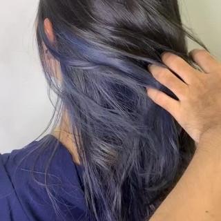 インナーカラー パーマ イルミナカラー ユニコーンカラー ヘアスタイルや髪型の写真・画像