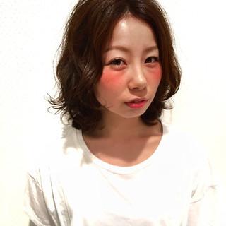 丸顔 卵型 ゆるふわ キュート ヘアスタイルや髪型の写真・画像